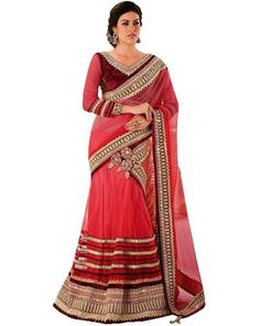Let your clothing speak about you. Explore wide range of elegant designs in stylish #Lehengas on Ethnic Station. Shop now @ http://www.ethnicstation.com/lehenga-1/lehenga-sarees/peach-patch-work-lehenga-saree-PF3954
