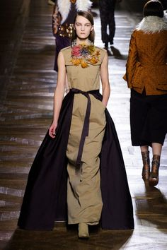 """Dries Van Noten dress: """"Another beautiful show from Dries Van Noten. I love the way he's realized a couture shape in casual fabric in this dramatic look."""" Photo: Imaxtree"""