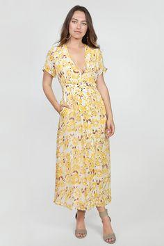 Chan Luu Poppy Print Button Dress in Honeygold