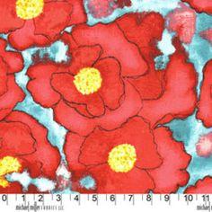Laura Gunn - Cosmos - Worn Poppy in Red. Love this fabric