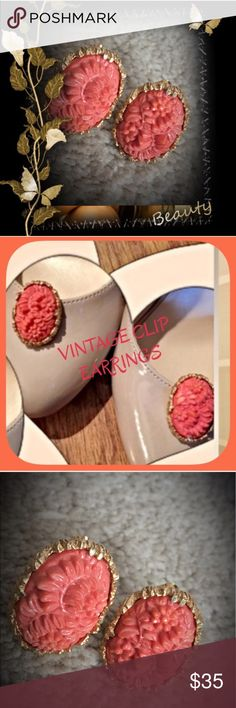 VTG CORAL CLIP EARRINGS 🌹HP🌹 These are exquisite! From my grams' collection so they're old! Stunning carved floral pattern and comfortable closure. Anyone can wear them because they're clips so no pulling tugging etc! Perfect flawless VTG condition! Any questions please ask! Remember to bundle for additional savings from my closet! Tx for browsing! Marian 🌹 Vintage Jewelry Earrings
