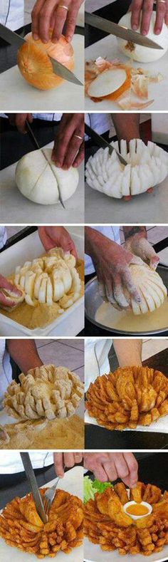 Outback Steakhouse Bloomin Onion ~ guess I need to learn how to do this since I'. - Outback Steakhouse Bloomin Onion ~ guess I need to learn how to do this since I'm asked all the t - I Love Food, Good Food, Yummy Food, Awesome Food, Outback Steakhouse Bloomin Onion Recipe, Onion Recipes, Air Fryer Recipes Onion Rings, Onion Rings Recipe, Appetizer Recipes