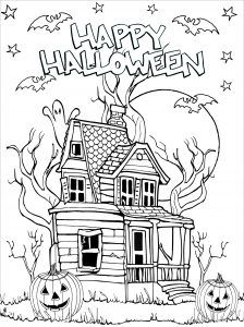 Halloween Haunted house - Halloween Coloring Pages for Adults - Just Color House Colouring Pages, Coloring Pages For Grown Ups, Fall Coloring Pages, Coloring Pages To Print, Adult Coloring Pages, Coloring Books, Free Coloring, Halloween Coloring Pages Printable, Free Halloween Coloring Pages