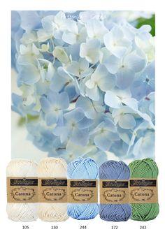 Kleurinspiratie Hortensia. Catona van Scheepjeswol om mee te haken of te breien. Wit - Off white - blauw en groen. Catona is verkrijgbaar in een zeer uitgebreid kleurenscala en is geschikt voor allerlei vrolijke projecten.