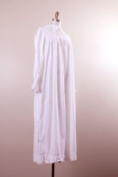 41106905db victorian nightgown    antique sleepwear    white cotton lace 1800s S M L