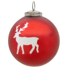 Flamant Christmas Ball in Red with Reindeer ($4.52) ❤ liked on Polyvore