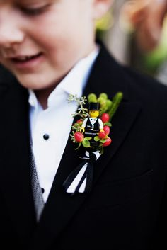 LEGO ring bearer boutonniere - too cute!