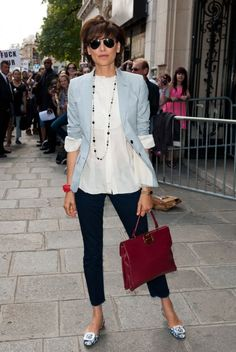 Ines de la Fressange in slouchy blazer, fluted bottom shirt and ballerina pants and shoes