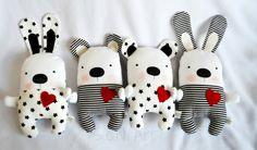 Blanco y negro Stars oso de peluche hecho a mano por SenArt1