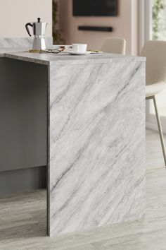 Looking for marble countertops ideas? Our Tempest Grey Marble Effect Laminate Worktop looks amazing when paired with light grey oak flooring. These marble effect kitchen countertops are affordable and are perfect for creating your a waterfall worktop for a modern kitchen design. Kitchen Worktops, Oak Flooring, Breakfast Bars, Marble Effect, Grey Oak, Work Tops, Marble Countertops, Modern Kitchen Design, Waterfall