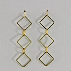 Vintage  Brass Small  Dangle Earrings Geometric by oscarcrow