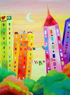 Certe sere, a #NewYork  - by Tiziana Rinaldi #painting #art