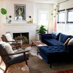 Coastal Home Interior cozy living room design // navy velvet sofa // white brick fireplace // sectional sofa.Coastal Home Interior cozy living room design // navy velvet sofa // white brick fireplace // sectional sofa Blue Couch Living Room, Living Room Sectional, Cozy Living Rooms, Home Living Room, Apartment Living, Living Room Designs, Navy Sectional, Navy Couch, Blue Couches