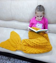 Your place to buy and sell all things handmade Knitted Mermaid Tail Blanket, Watch Cartoons, Warm Blankets, Wool Blanket, Cribs, Beds, Little Girls, Crochet Patterns, Plaid