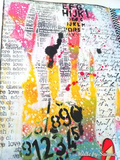 Made by Sannie: A little bit of text stamping #art #journal