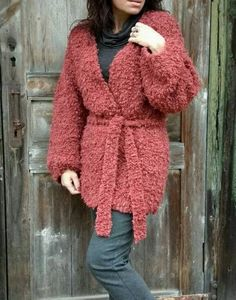 Mohair cardigan Brick red jacket Long chunky sweater coat Fluffy jacket for women Oversize cardigan with boucle wool Mom knit birthday gift Mohair Cardigan, Long Sweater Coat, Loose Knit Sweaters, Knitted Poncho, Wool Sweaters, Sweater Cardigan, Burgundy Cardigan, Cardigan Pattern, Poncho Knitting Patterns