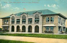 Colorized postcard showing Cebu High School on the Island of Cebu, Philippines.