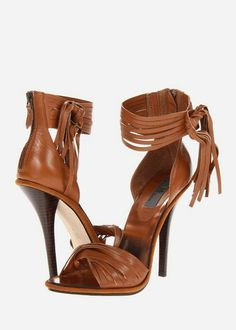 camel ankle leather wrap heels