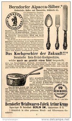 Original-Werbung/Inserat/ Anzeige 1893: BERNDORFER METALLWAAREN-FABRIK ARTHUR KRUPP ca. 95 X 155 mm