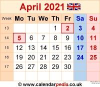 2021 Monthly Calendar With Holidays April Di 2020