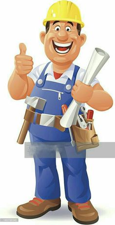 A happy construction worker holding a plan in his hand and gesturing. Safety Cartoon, Handyman Logo, Worker Boots, Character Art, Character Design, Business Cartoons, Mascot Design, Happy Labor Day, Construction Worker