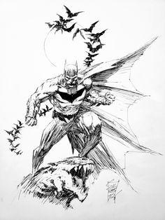 Marc Silvestri Batman, in Jay Rob Zu's Commissions Comic Art Gallery Room Batman Comic Art, Black And White Comics, Black White Art, Art Sketches, Character Sketches, Character Art, Jordi Bernet, Drawing Superheroes, Comic Art