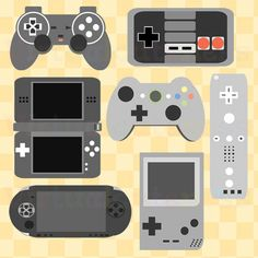 Video Game Clipart- Game Controller Clip Art, Geekery, Controllers, Planner, System, Retro, Gaming, Arcade, Free Commercial and Personal Use