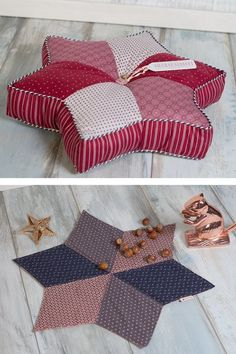 Free sewing pattern for a decorative star cushion, perfect decoration for the winter to sew yourself Freebie star cushion and placemat, patchwork pillow, simple sewing idea, great gift idea # sew # easy sewingInformations About Sternplatzse Sewing Pillows, Diy Pillows, Throw Pillows, Sewing Patterns Free, Free Sewing, Free Pattern, Hand Sewing, Patchwork Pillow, Crochet Pillow
