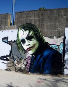 Heath Ledger/The Joker / graffiti / street art Urban Street Art, Best Street Art, Amazing Street Art, 3d Street Art, Street Art Graffiti, Street Artists, Amazing Art, Awesome, Murals Street Art