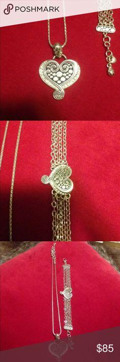 Brighton heart necklace and bracelet set Brighton heart necklace and bracelet set..Wore twice. Like new necklace 18 long and bracelet 7 to 8 Brighton Jewelry Necklaces