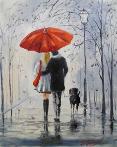Walking In The Rain Print featuring the painting Walking In The Rain by Olha Darchuk