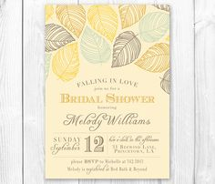 Falling in Love - Fall Bridal Shower Invitation. Fall Baby Shower Invitation. DIY Printable Invite.