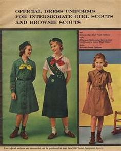 "Girl Scout Uniforms - Note ""Intermediate"" no Junior or Cadette levels pictured. In the 1950s, I wore this Brownie uniform (no tie), then the green dress (short sleeves w/ soft tie, then the white blouse & green skirt as shown in Jr. High (called 'Juniors.) Finally, the Senior Scout dark green top w/ skirt (not shown) in High School (no sash.)"