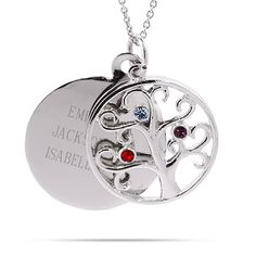 Add 3 birthstones to a sterling silver family tree circle charm! Behind the family tree is a circle charm that can be engraved.