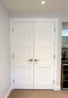Double Door Storage Room Entrance - White Painted Shaker Style Doors - Satori Design for Living Shaker Interior Doors, Interior Door Styles, Double Doors Interior, 3 Panel Interior Doors, Interior Design, Double Closet Doors, Sliding Closet Doors, French Closet Doors, Wardrobe Doors