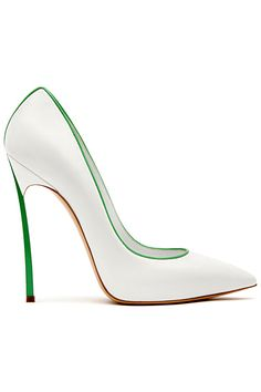 Fresh and elegante: White Casadei Pumps with green elements - 2013 Spring-Summer