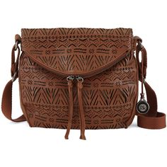 The Sak Women's Silverlake Crossbody (155 CAD) ❤ liked on Polyvore featuring bags, handbags, shoulder bags, tobacco tribal perf, leather purse, brown shoulder bag, leather handbags, crossbody purse and leather cross body purse
