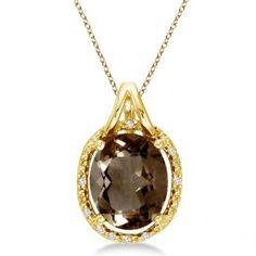 Smoky Topaz & Diamond Necklace 14k  Gold, OMGoodness Beautiful :<3