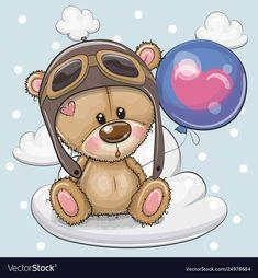Greeting card Cute Cartoon Teddy Bear in a pilot with blue balloon on. - - Greeting card Cute Cartoon Teddy Bear in a pilot with blue balloon on… Pintura em tecido Teddy Bear Cartoon, Cartoon Panda, Cute Teddy Bears, Cute Cartoon, Tatty Teddy, Its A Boy Balloons, Blue Balloons, Teddy Bear Pictures, Baby Painting