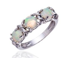 Hutang White Opal Stable 925 Sterling Silver Traditional Three-Stone Ring for Ladies Wonderful Jewellery - Silver Jewellery 925 - SHOP NOW Gems Jewelry, Fine Jewelry, Sterling Silver Jewelry, Silver Rings, Silver Jewellery, Opal Edelstein, Three Stone Rings, Opal Gemstone, White Opal