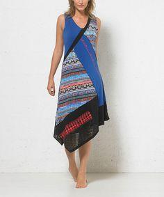 Loving this Blue Tribal V-Neck Midi Dress on #zulily! #zulilyfinds