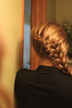 Diagonal French braid. This has always been my favorite way to wear my hair back. Now my hair just needs to be long enough to wear it like this again...