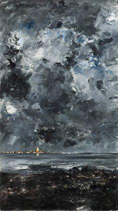 The town, La ciudad, de August Strindberg. 53 x 94 cm, pintado en 1903. Derechos: Museo nacional de Suecia.