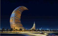 The Crescent Moon tower is set up at Za'abeel Park in Dubai. Amazing Architecture, Landscape Architecture, Architecture Design, Wonderful Places, Beautiful Places, Places To Travel, Places To Visit, Dubai Travel, Futuristic Design