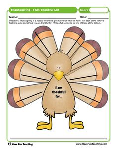 Thanksgiving I am Thankful List Worksheet Thanksgiving Worksheets, Thanksgiving Traditions, First Grade Activities, Teaching First Grade, Have Fun Teaching, Teaching Reading, Rules For Kids, Student Work, Give Thanks
