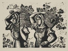 Women on grape harvest linocut by Aginor Asteriadis - Greek Paintings, Collagraph, Stamp Printing, Scratchboard, 10 Picture, Greek Art, Wood Engraving, Contemporary Art, Prints