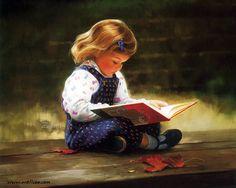 """""""'Quiet Time"""" de Donald Zolan  (1937–2009), peintre américain reconnu comme un maître dans l'art de peindre les enfants."""