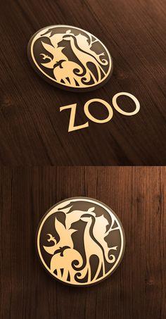 Zoo Logo | 13 animals in logo: penguin, seal, crocodile, chameleon, lion, octopus, elephant, three birds, snake, giraffe & seahorse #inspiration