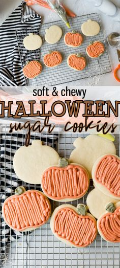 Halloween Sugar cookies are a super soft vanilla sugar cookie base simply decorated like a pumpkin. This beginner friendly recipe is one that even the kids will love! Soft Sugar Cookie Recipe, Sour Cream Sugar Cookies, Cherry Cookies, Rolled Sugar Cookies, Chewy Sugar Cookies, Sugar Cookie Frosting, Vanilla Cookies, Vanilla Sugar, Kid Friendly Sugar Cookie Recipe