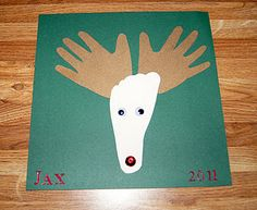 baby footprint & handprint reindeer
